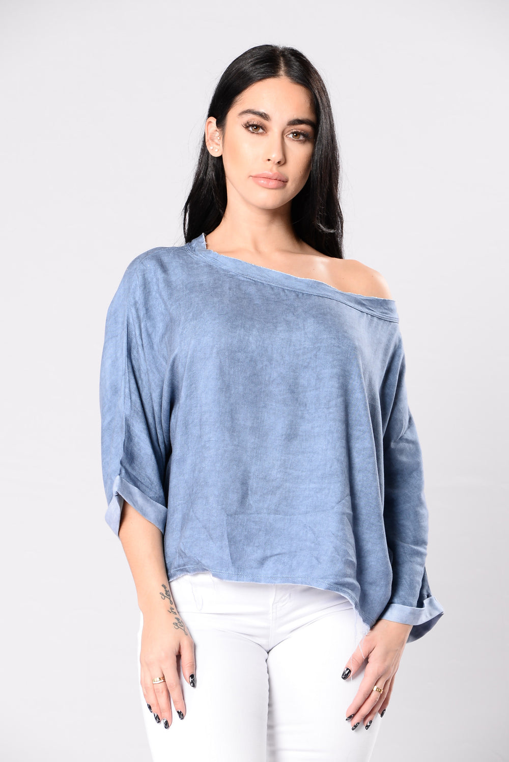 On Edge Top - Denim Blue