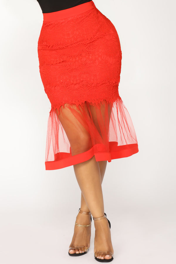 a9a92f1481 Plenty Of Fish In The Sea Midi Skirt - Red