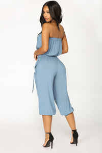 Fragile Cargo Jumpsuit - Denim