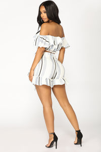 Vacation Daydreaming Skort Set - White/Black