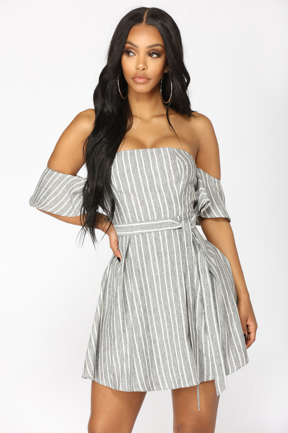 Underlined Stripe Dress - Grey