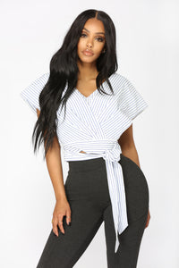 Noemi Striped Top - White/Blue