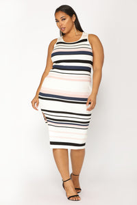 Amily Stripe Dress - Ivory/Blush Angle 6