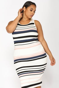 Amily Stripe Dress - Ivory/Blush Angle 7