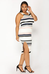Amily Stripe Dress - Ivory/Blush Angle 5