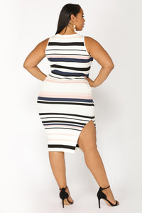 Amily Stripe Dress - Ivory/Blush Angle 8