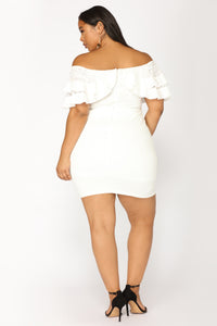 Precious Memory Off Shoulder Dress - Off White