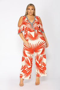 See The Sunrise Tropical Jumpsuit - Ivory/Red Angle 5