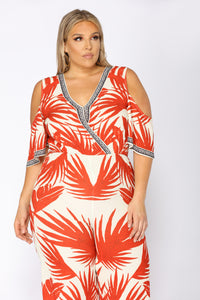 See The Sunrise Tropical Jumpsuit - Ivory/Red Angle 6