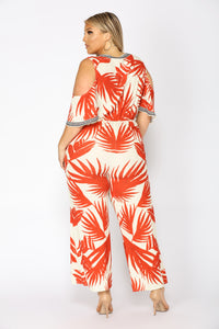 See The Sunrise Tropical Jumpsuit - Ivory/Red Angle 8