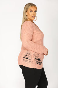 Loosen Up Distressed Sweater - Dusty Pink