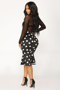 Therese Midi Skirt - Black/White