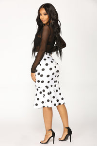 Therese Midi Skirt - White/Black