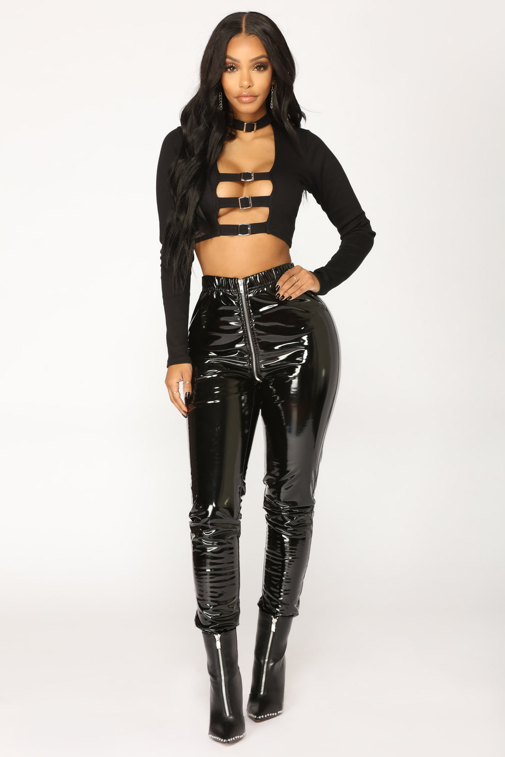 Buckle Up Crop Top - Black