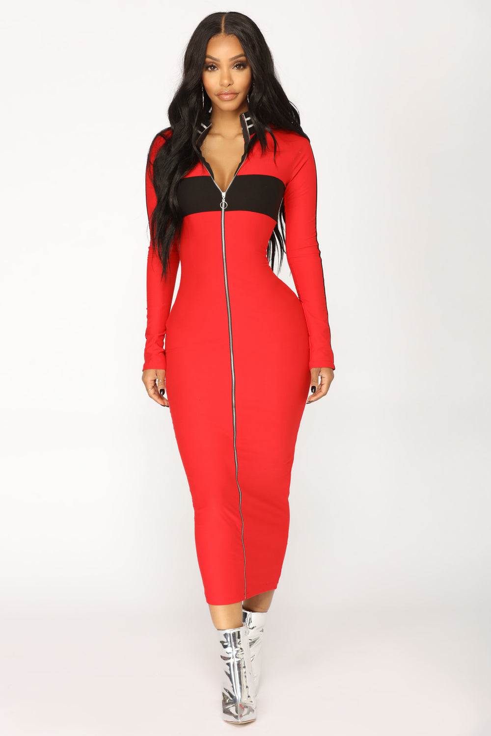 To The Finish Zipper Dress - Red/Black