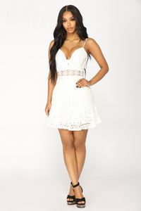 Trophy Gal Mini Dress - White