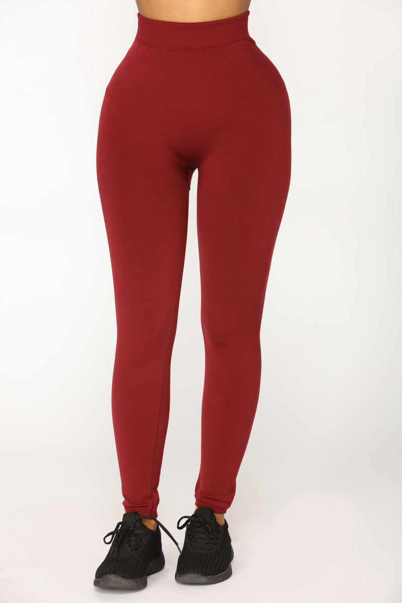 Since Day One Seamless Leggings - Burgundy