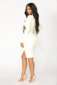 Leanna Ribbed Dress - Cream