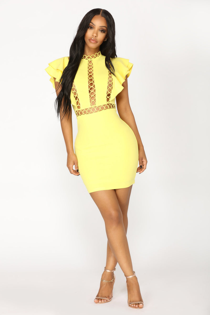 Love You A Hole Lot Mini Dress - Yellow