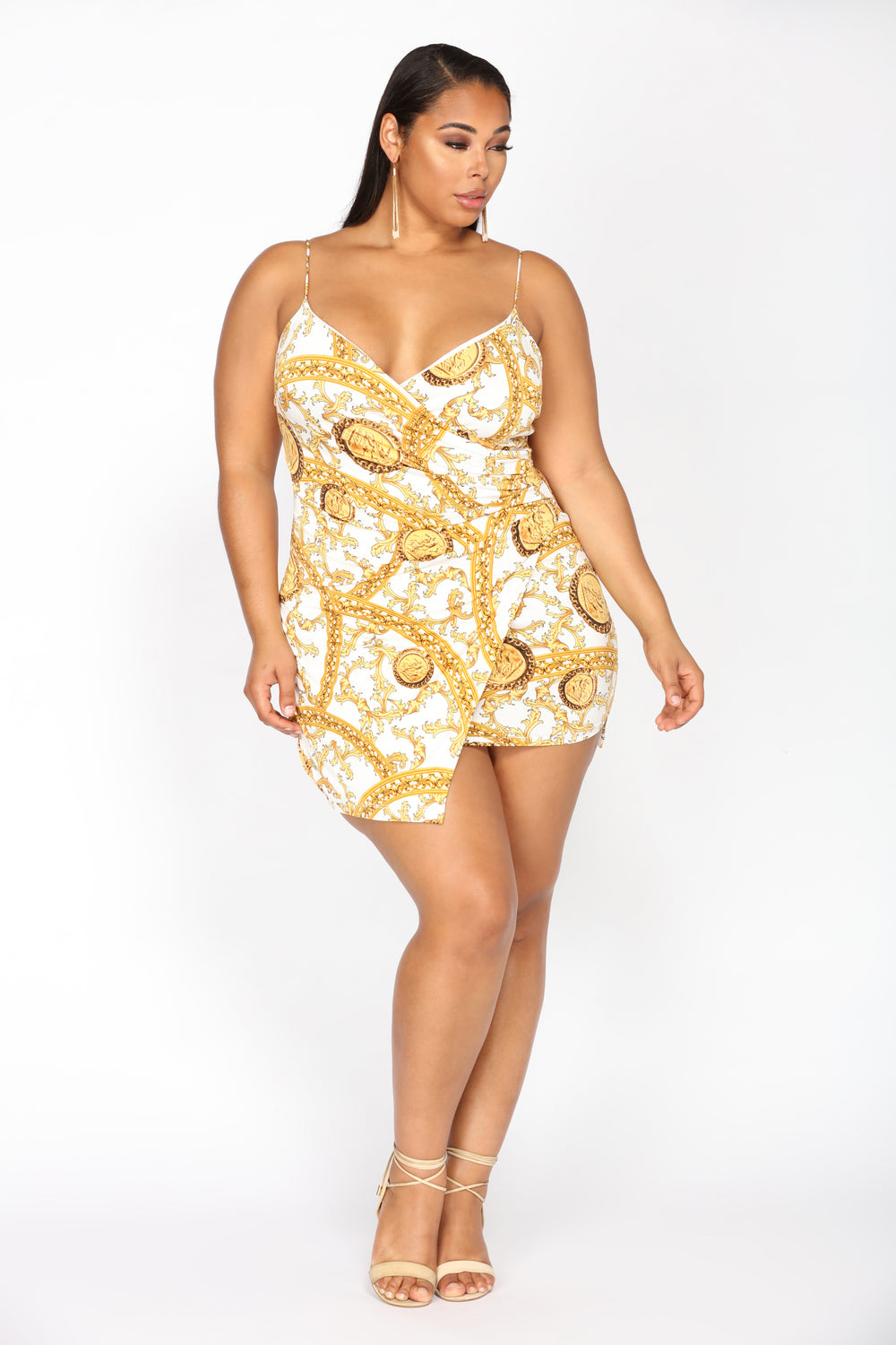 Deserve A Metal Dress - White/Gold