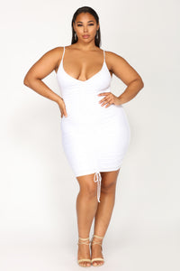 Shanghai Ruched Dress - White Angle 7