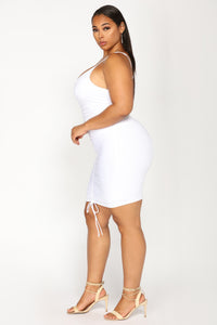 Shanghai Ruched Dress - White Angle 8