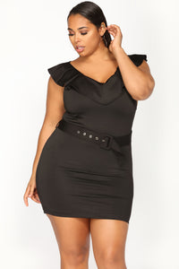 Ladies First Belted Dress - Black