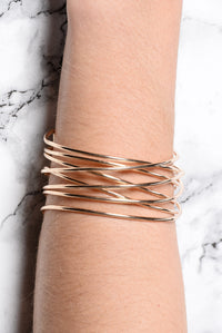 Moving Through Changes Cuff Bracelet - Gold