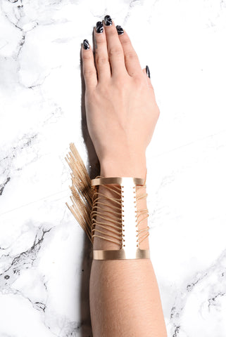 Chained To Love Cuff Bracelet - Gold
