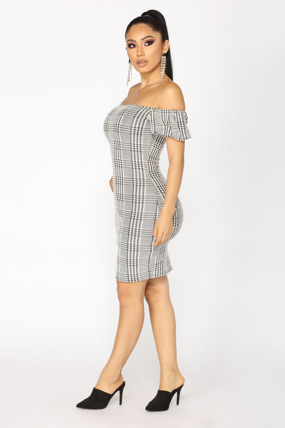 Working Girl Houndstooth Dress - Ivory/Black
