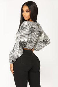 Marley Gingham Top - Black/White
