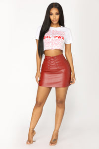 Girl Power Cropped Tee - White