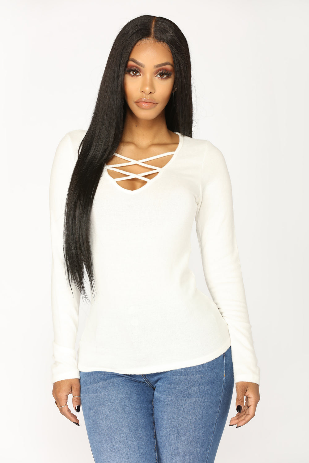 Do It For Yourself Lace Up Top - White