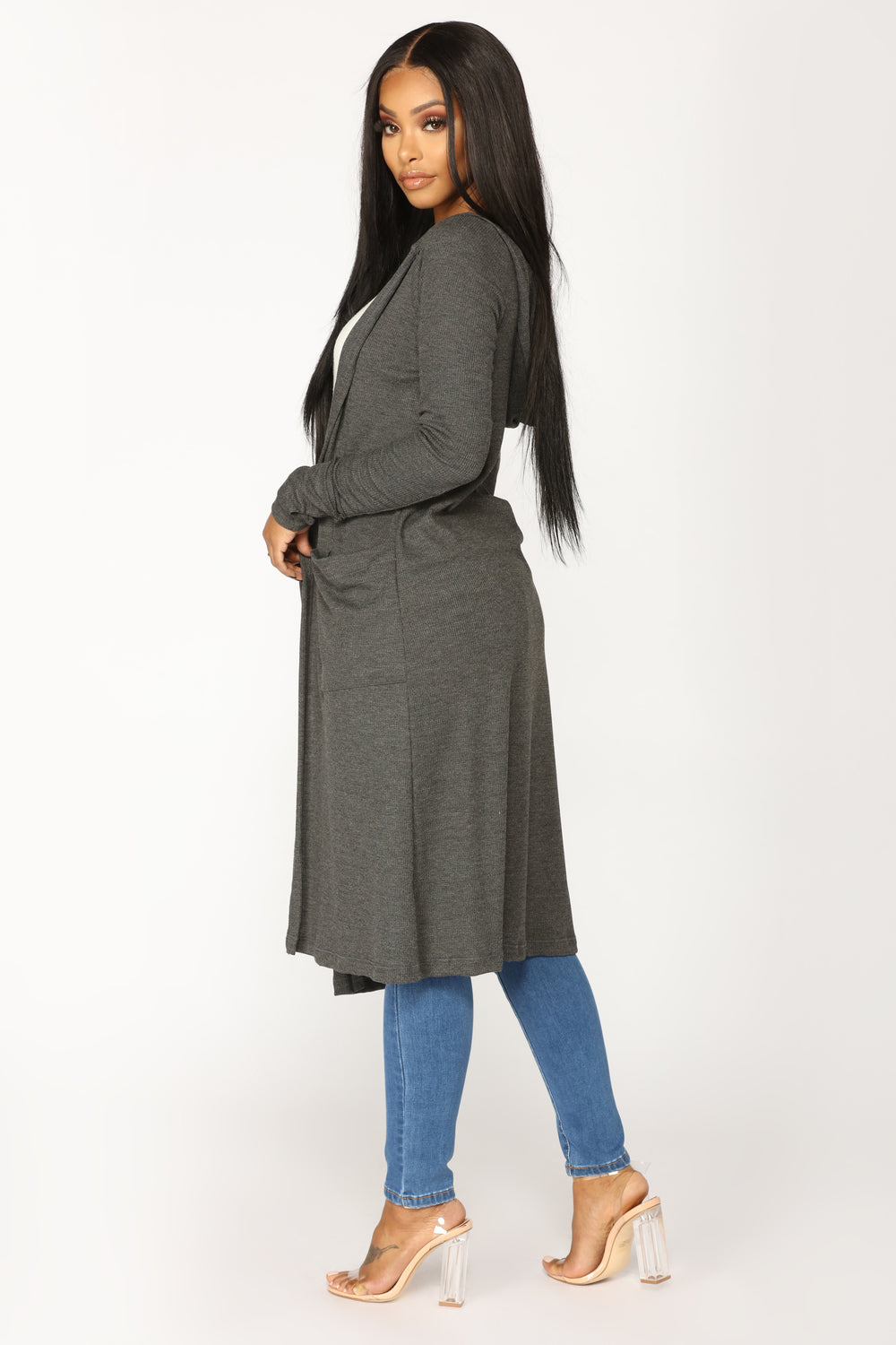 Sunday Kind Of Love Duster Jacket - Charcoal