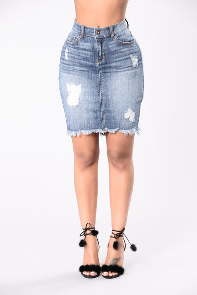 Whatever It Takes Skirt - Medium Wash