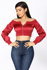 How It Goes Off Shoulder Jacket - Burgundy