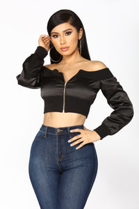 How It Goes Off Shoulder Jacket - Black