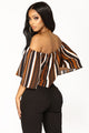 Alisha Off Shoulder Top - Black/Brown