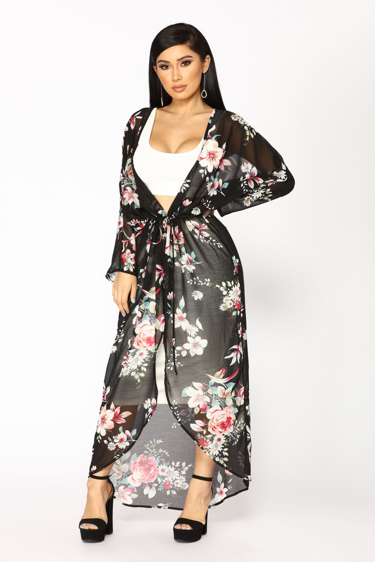 Blooming Floral Kimono - Black/Floral