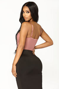 Make It Double Ruched Bodysuit - Mauve