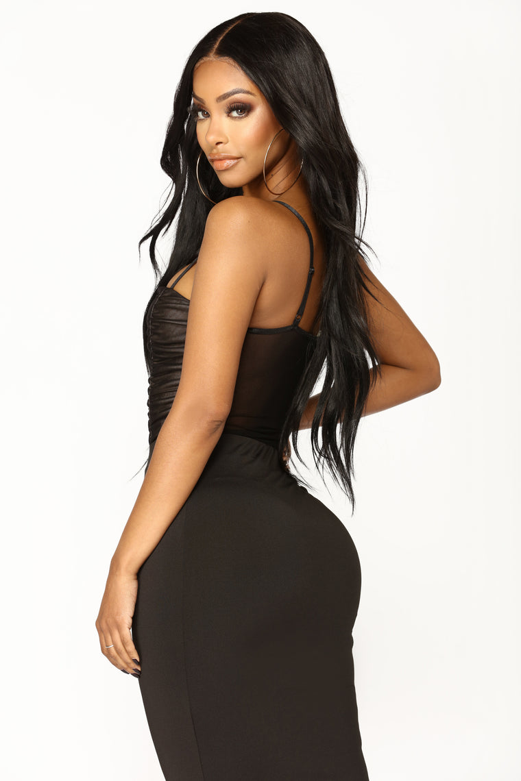 Make It A Double Ruched Bodysuit - Black