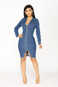 Street Talk Denim Dress - Dark Angle 2