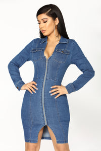 Street Talk Denim Dress - Dark Angle 1