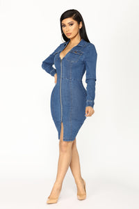 Street Talk Denim Dress - Dark Angle 3