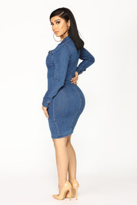 Street Talk Denim Dress - Dark Angle 4