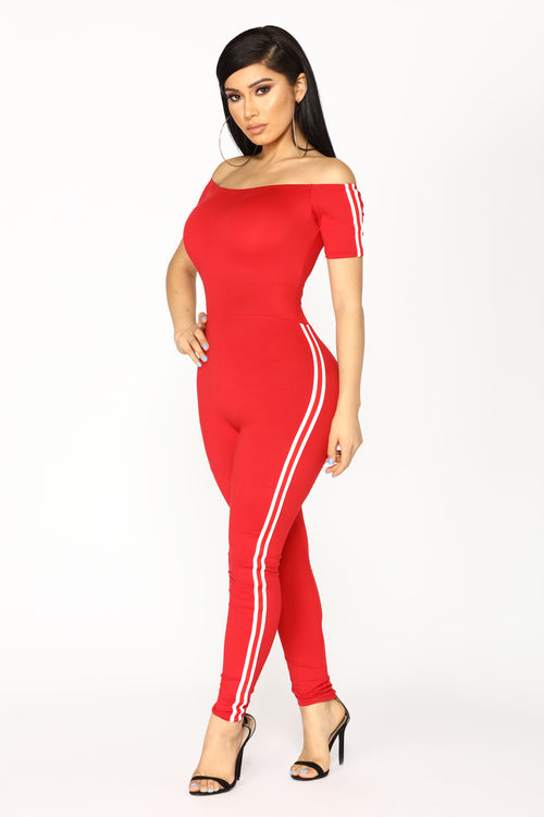 Stay Chill Jumpsuit - Red/White