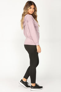 Always Good Vibes Long Sleeve Top - Lavender