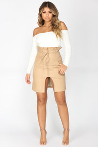 Tie Me Close Faux Leather Skirt - Camel