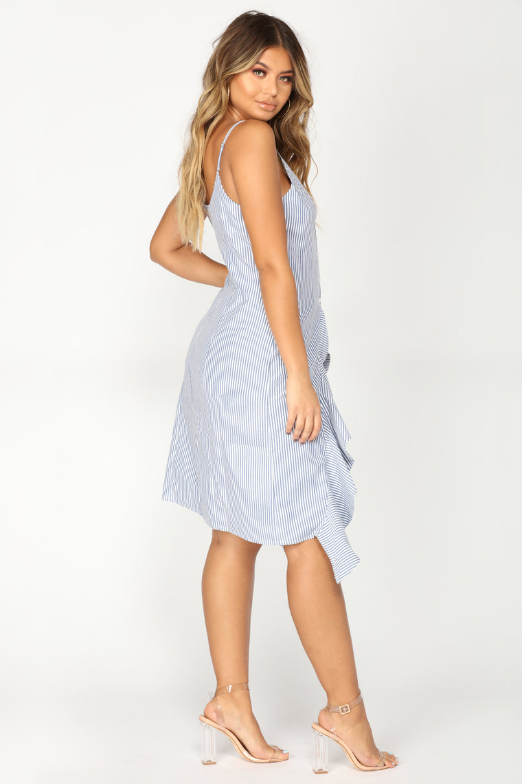 Lillie High Low Top - Blue/White