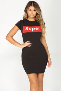Super Nova Mini Dress - Black/Red